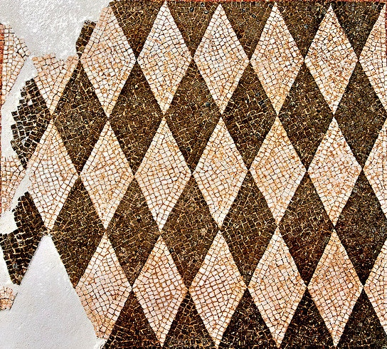 Geometric floor mosaic with diamonds shapes. ,1st century BC . National Roman Museum, Rome, Italy