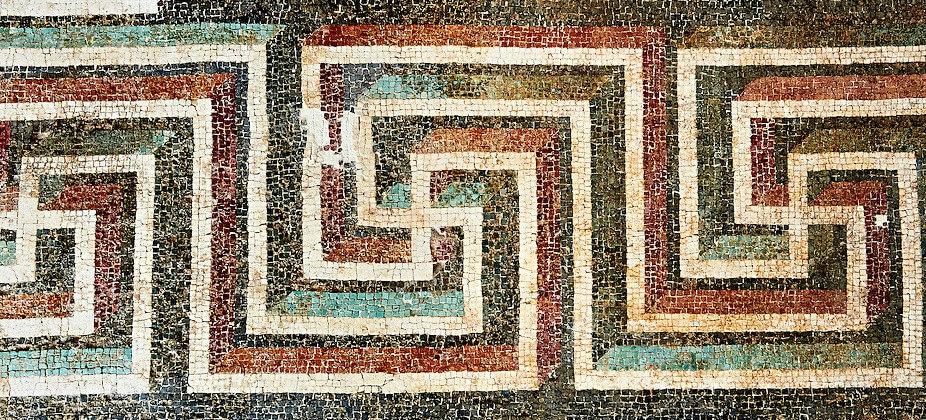 Geometric floor mosaic with swastikas, 1st century BC . National Roman Museum, Rome, Italy