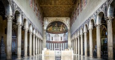 Interior of the Basilica of Saint Sabina in Rome, Italy