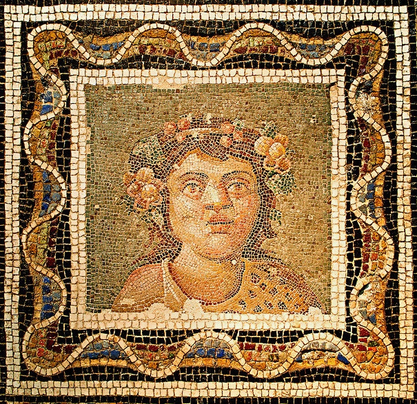 Mosaic of a bust of Dionysus, 3rd century AD. National Roman Museum, Rome, Italy-2