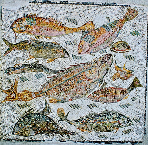 Roman fFmosaic depicting fish,3rd century AD. National Roman Museum, Rome, Italy