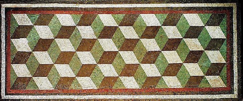 Roman geometric floor mosaic,Rome. 1st century BC, National Roman Museum.