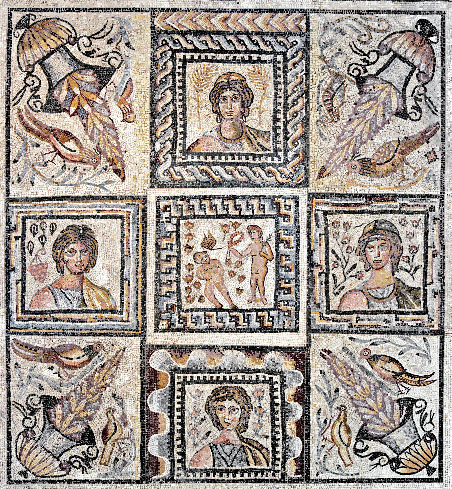 Roman mosaic floor panes depicting the seasons. 5th century AD.