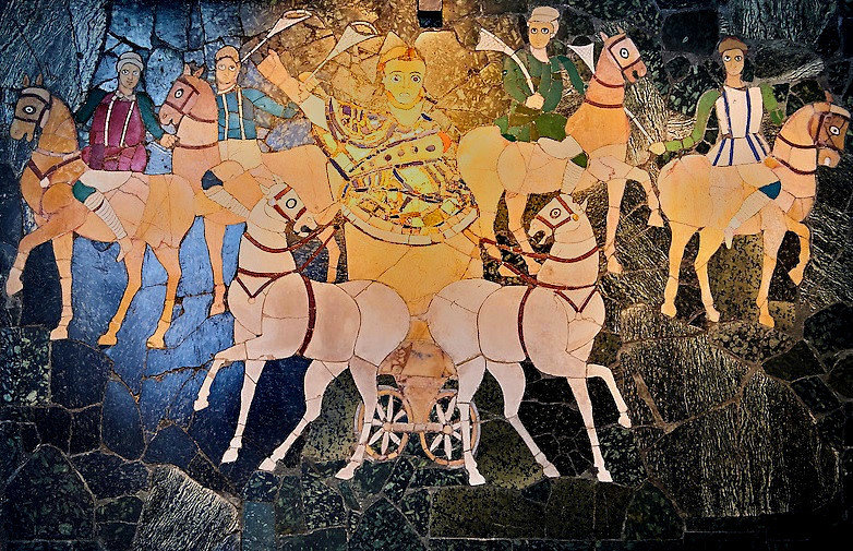 Two-horse chariot in the Circus Maximus, 4th. c. A.D, Museo Nazionale Romano, Palazzo Massimo, Rome.